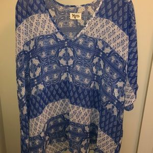 Show me your Mumu blue and white sheer top
